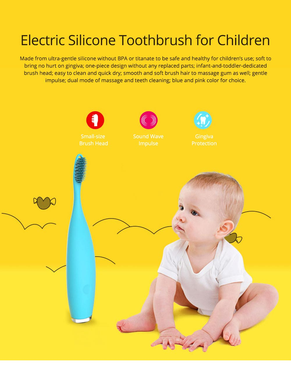 Baby USB Chargeable Silicone Toothbrush for Children Infant, Intelligent Waterproof Ultrasonic Mouth Cavity Cleaning Toothbrush, Electric Brush for Teeth Cleaning 0
