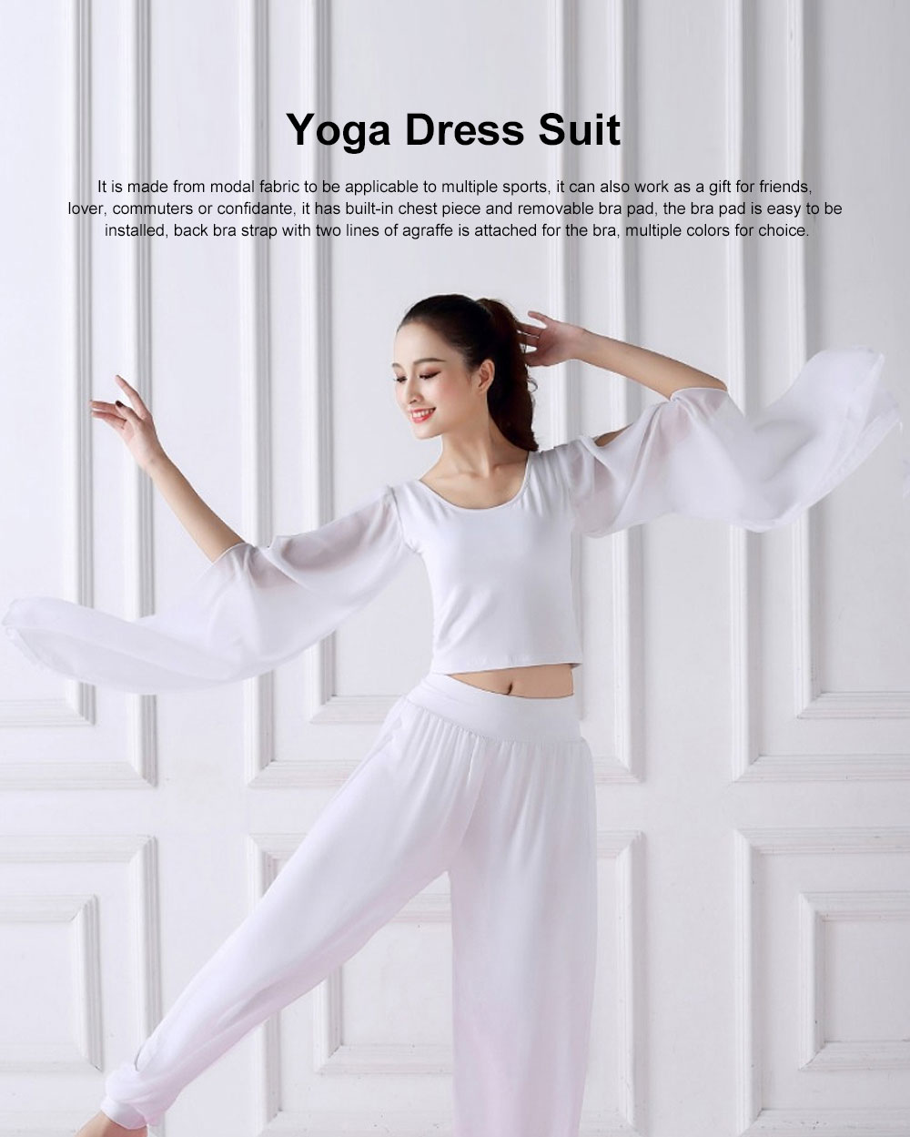 Beauty Shaped Yoga Wear for Women, Cotton Chiffon Yarn Belly Dance Formal Clothes Suit, Slim-fitting Performance Clothes Suit for Yoga, Fitness, Exercise 0