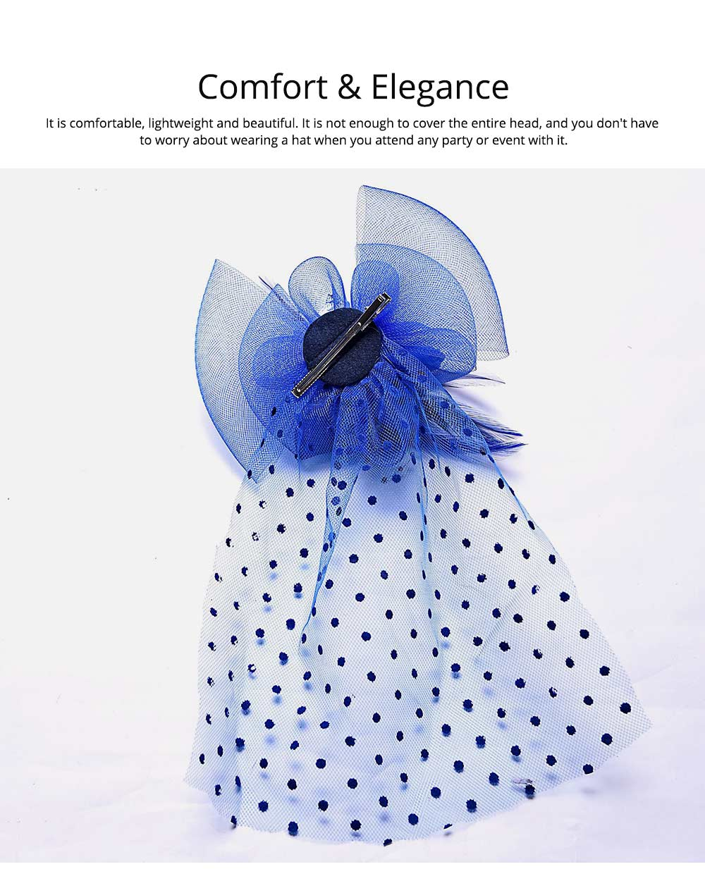Mesh Headwear for Shows Dinner Banquet, Brides Hat Feather Mesh Yarn Hair Accessories with Flaky Polka Dots Lace 1