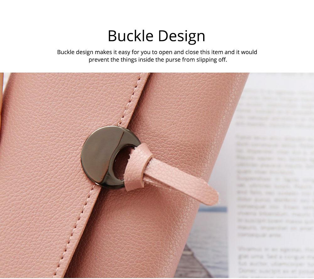 Simple Minimalist Long PU Leather Three-fold Purse, Soft Skin-friendly Large Capacity Women Purse Hand Bag 2