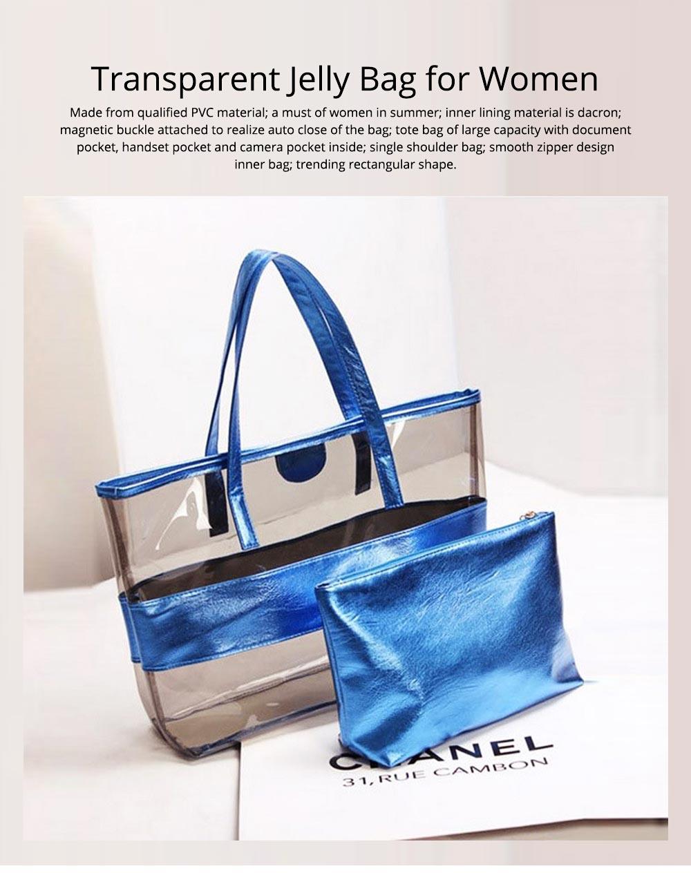 PVC Waterproof Transparent Bag for Women Summer Use, Crystal Tote Bag, Neon Color Jelly Single Shoulder Handbag 0
