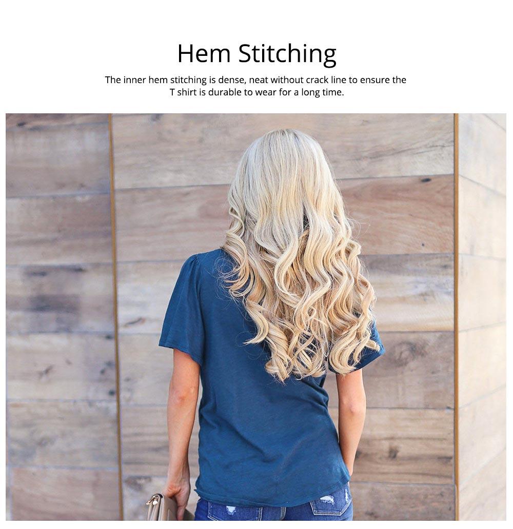 V-neck Lower T-shirt for Women in Summer 2019, Short Sleeve Hem Tying Knot Tees, Women Loose Top Dress 3