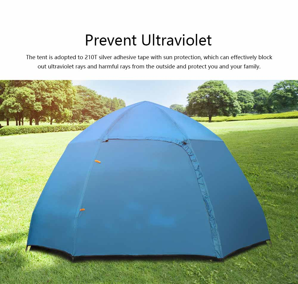 Tent Polyester Fiber Double Layers Waterproof Camping Six Corners for 5-8 People Insect Prevention Automatic Tabernacle 5