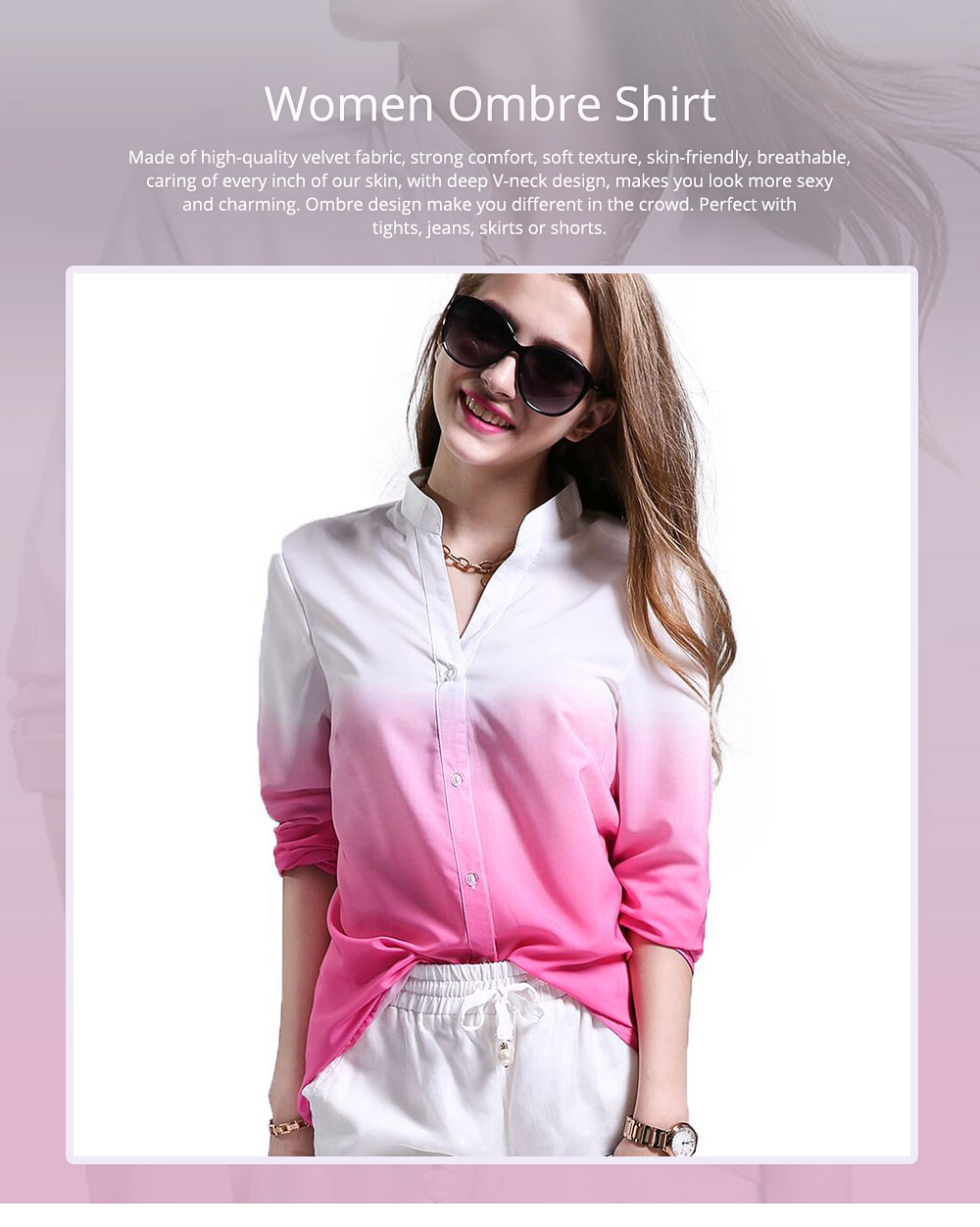 Women Button-down Shirt with Deep V-neck, Long Sleeves Ombre Shirt for Girls Ladies 0