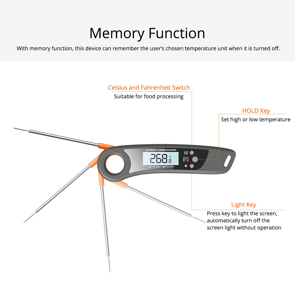 Waterproof Foldable Digital Electric Kitchen Thermometer, Breaking-proof ABS 304 Stainless Probe Temperature Gauge for Barbecue Water Test 7