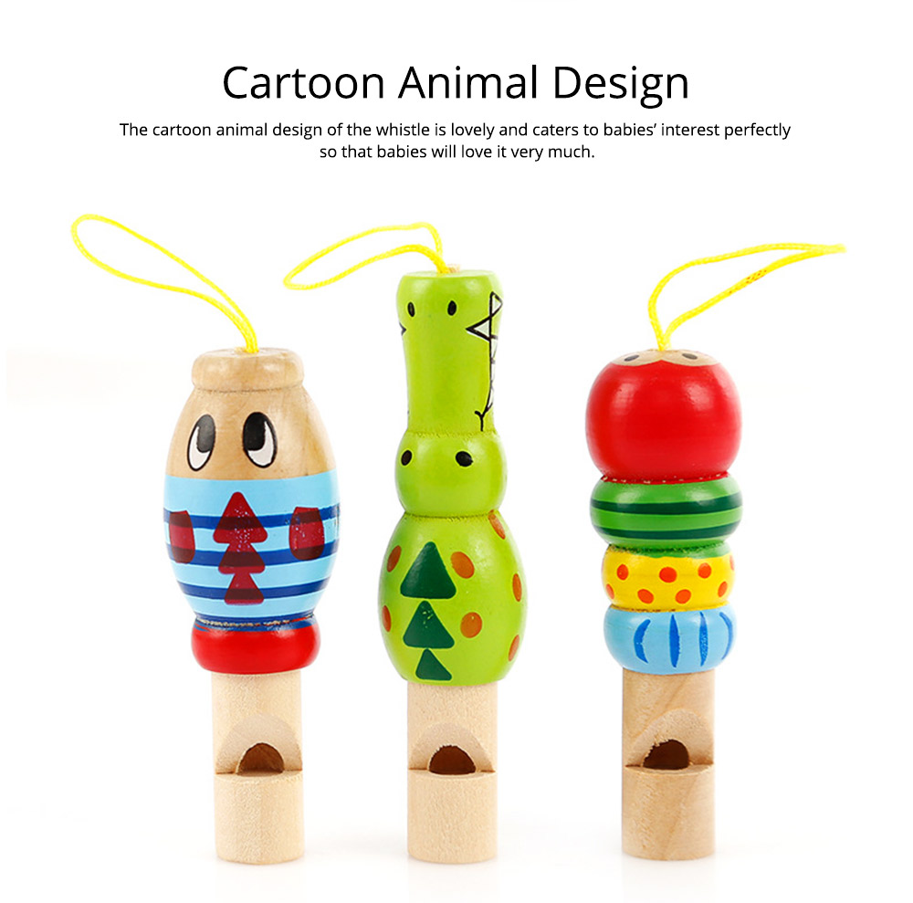 Wooden Animal-shape Whistle for Babies, Early Educational Toy for Children's Use, Musical Cultivation Tool Whistle with Bright Color 6