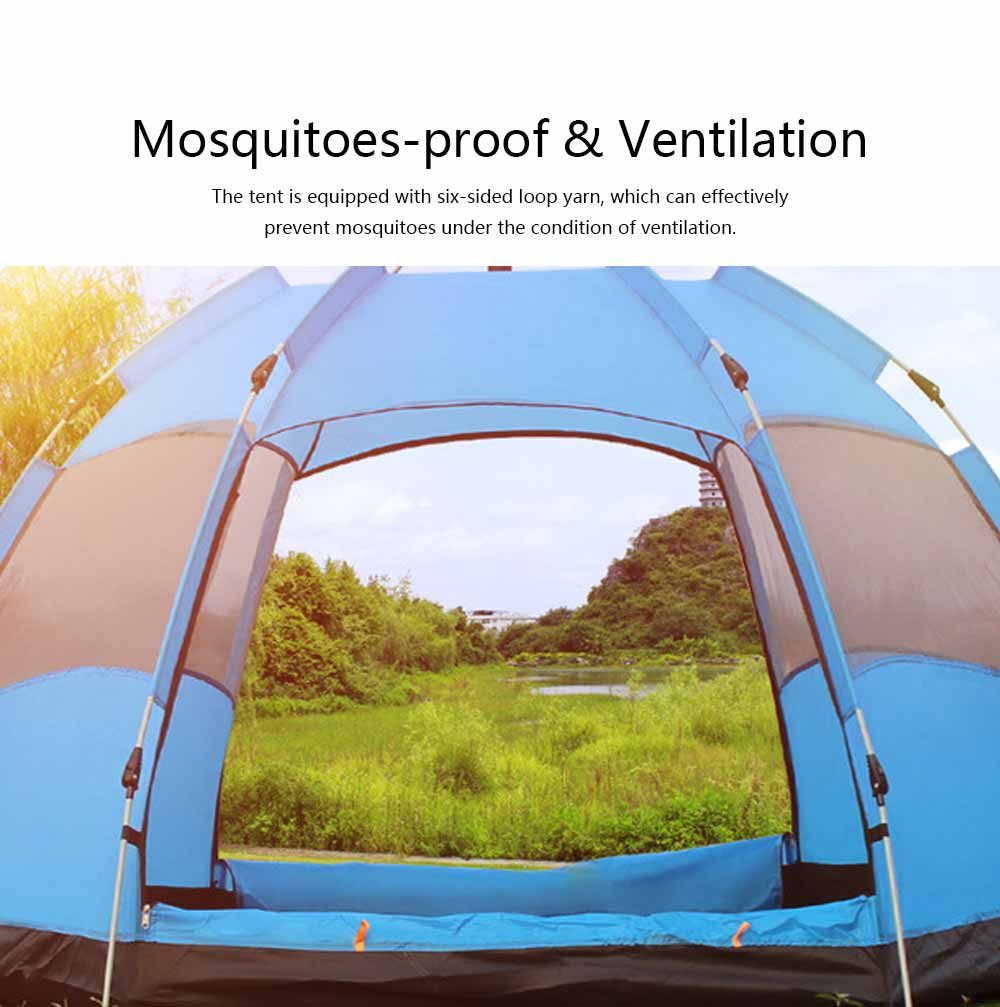 Tent Polyester Fiber Double Layers Waterproof Camping Six Corners for 5-8 People Insect Prevention Automatic Tabernacle 4