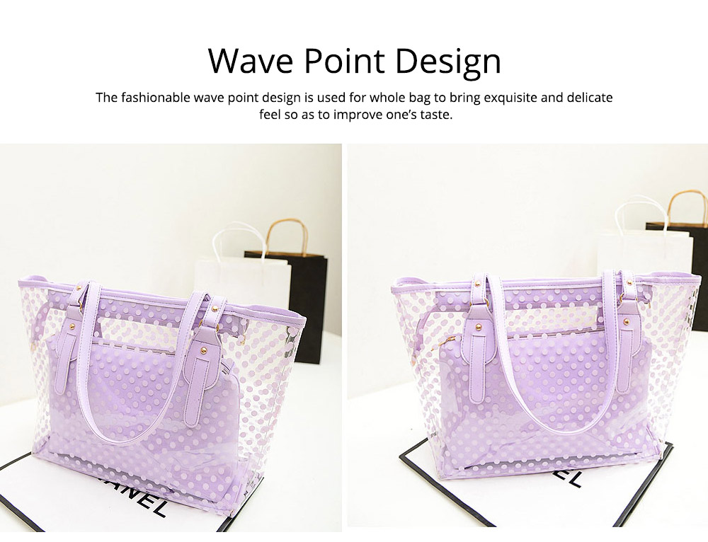 Fresh Color Tote Bag for Women Summer Use Jelly Handbag Wave Point Waterproof PVC Beach Used Crystal Single Shoulder Held Bag 3