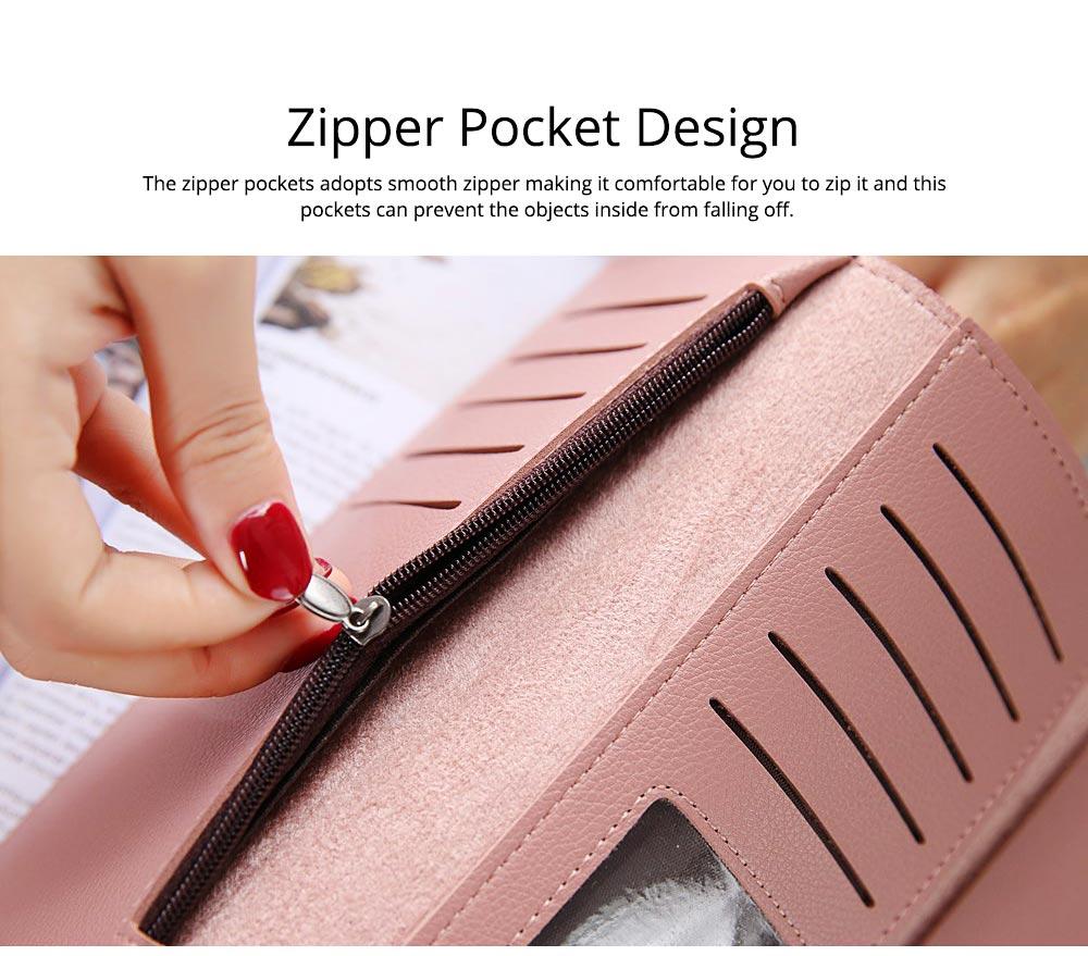 Simple Minimalist Long PU Leather Three-fold Purse, Soft Skin-friendly Large Capacity Women Purse Hand Bag 4