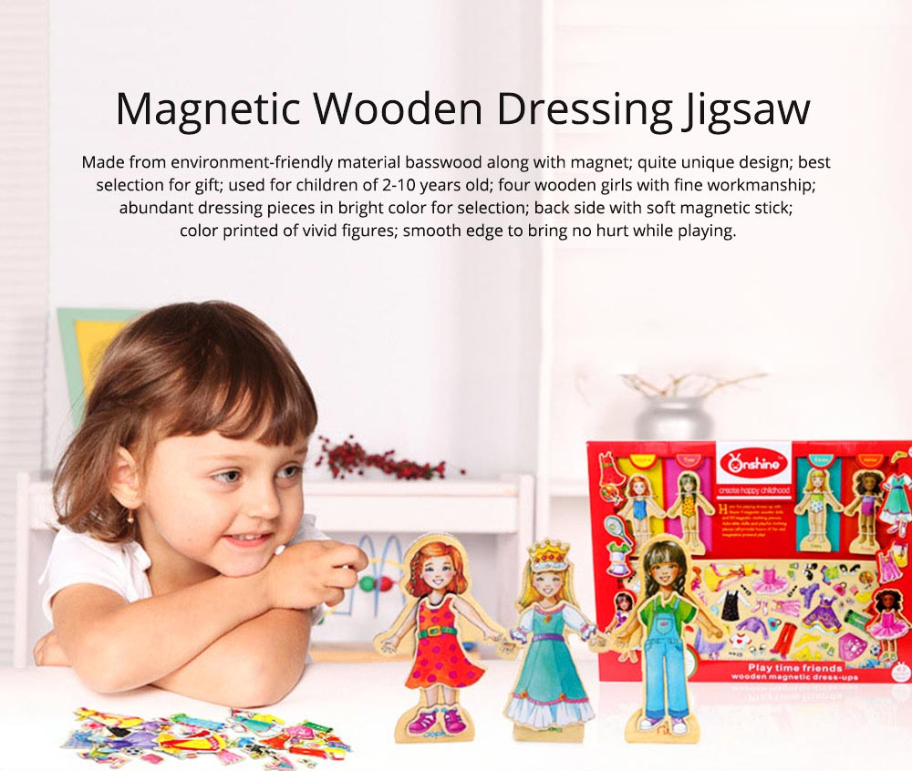 Girl Dressing Change 63 Pieces Dressing Toy, Intelligence Toy for Girls, Girl-dedicated Magnetic Lovely Wooden Playing Tool Two Styles 0