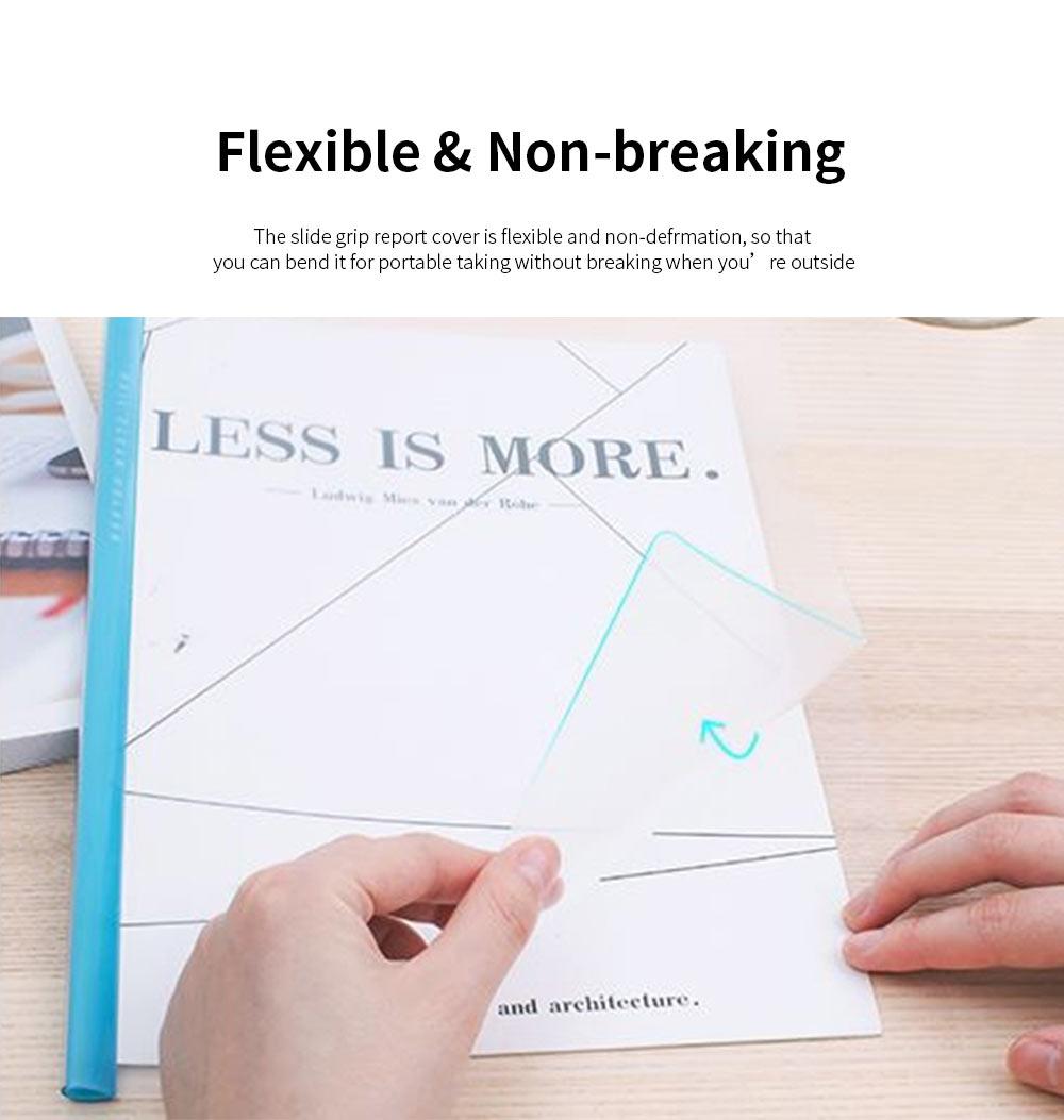 Slide Grip Report Cover for Students, Office Workers, Teachers, Thicken Slide Grip File Folder, 5PCS Random Colors Documents Folder 3