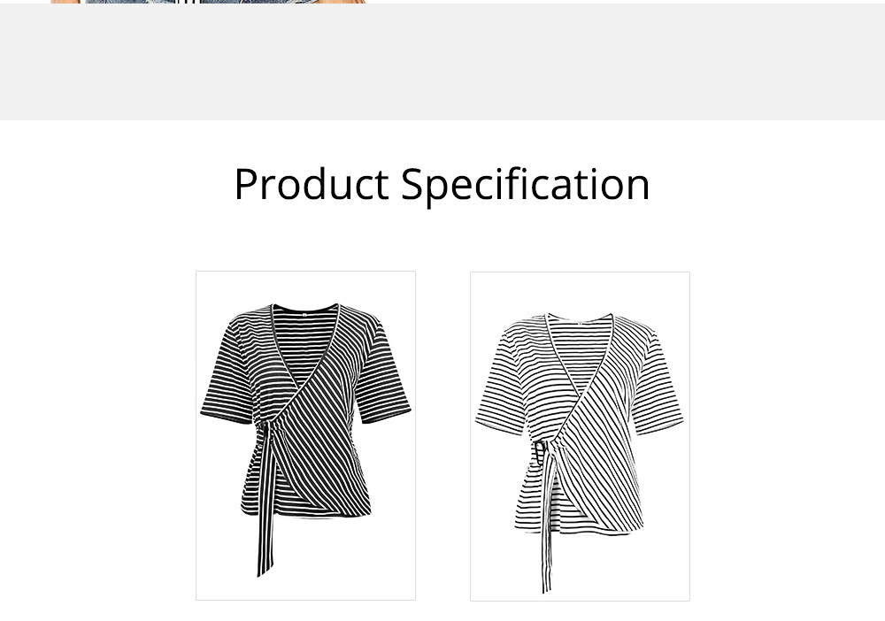 V-Neck Stripe Tees with Adjustable Buckle, Slimmer Waist Middle Sleeve T-shirt for Women Lady 2019 Summer Wear 7