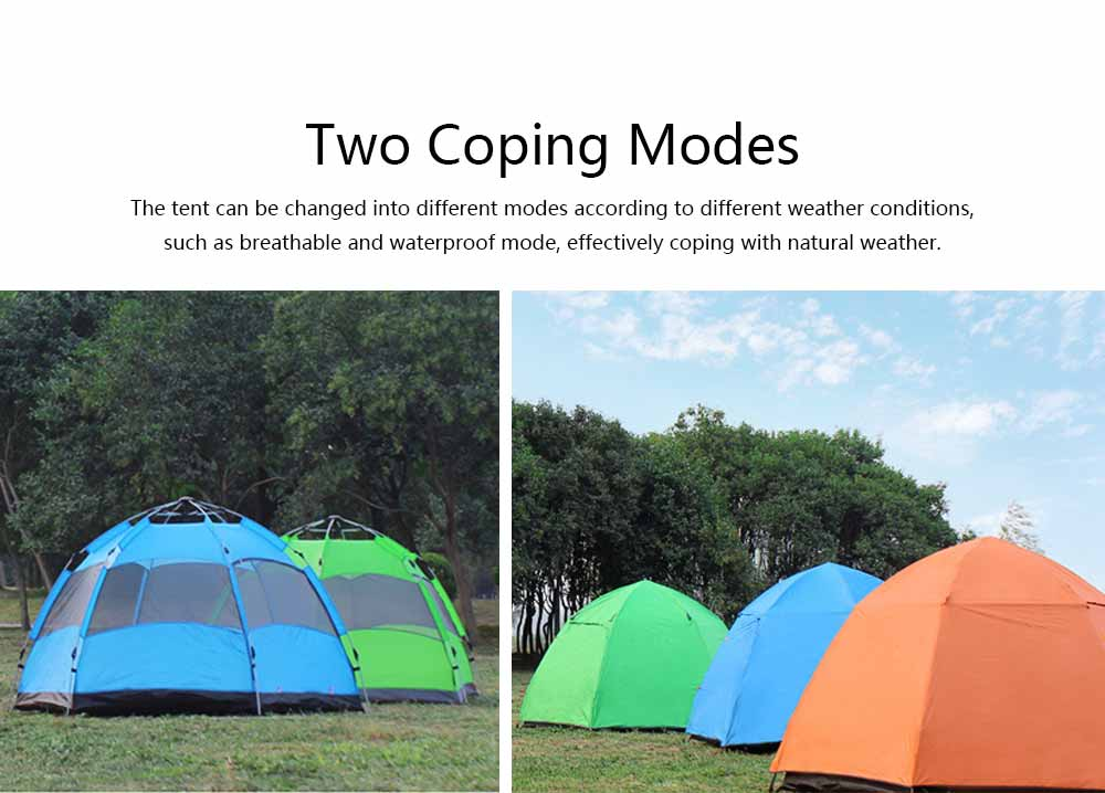Tent Polyester Fiber Double Layers Waterproof Camping Six Corners for 5-8 People Insect Prevention Automatic Tabernacle 3