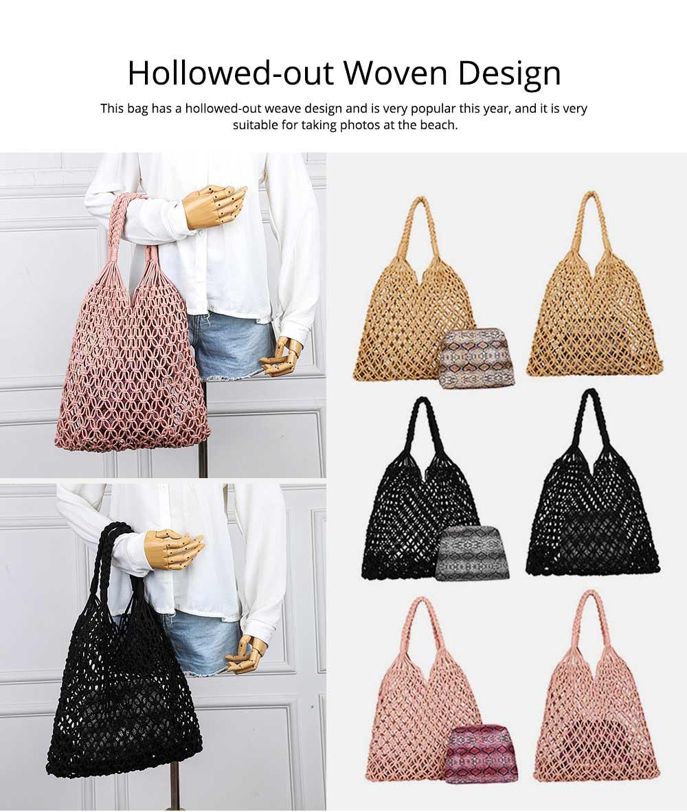 Handmade Woven Bag for Women, Rope Hollow Mesh Straw Bag, Beach Single Shoulder Bag Handbag 2019 New 2