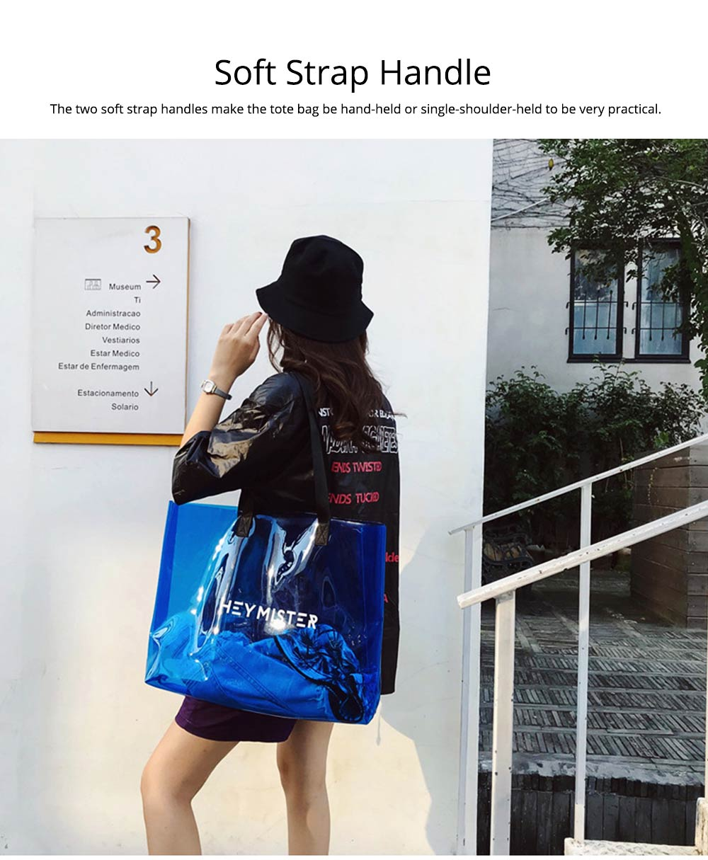 Single shoulder-held Transparent Tote Bag for Women, Fashionable Casual Style Beach Bag 2019 Summer Use 4