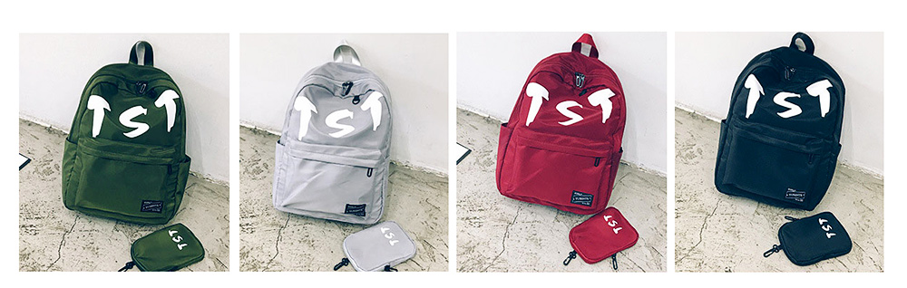 Fashion School Bag with Zipper Student Backpack, Individuality Large Capacity Universal Letters Couple Canvas Shoulder Bag  8