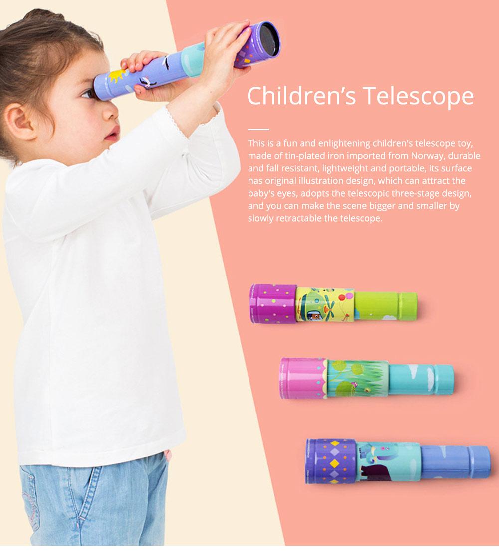 Explore Nature Children's Monocular Telescope, Iron Retractable Eyecare Toy, Adjustable Educational Science Toy 0