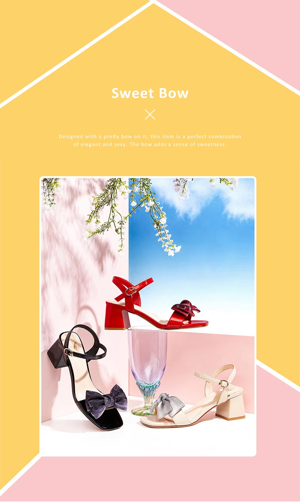 2019 Summer Thick Heel Shoes with  Sweet Bow, PU and Rubber Material Block High Heel Sandals for Shopping, Dating, Party, Holiday 1