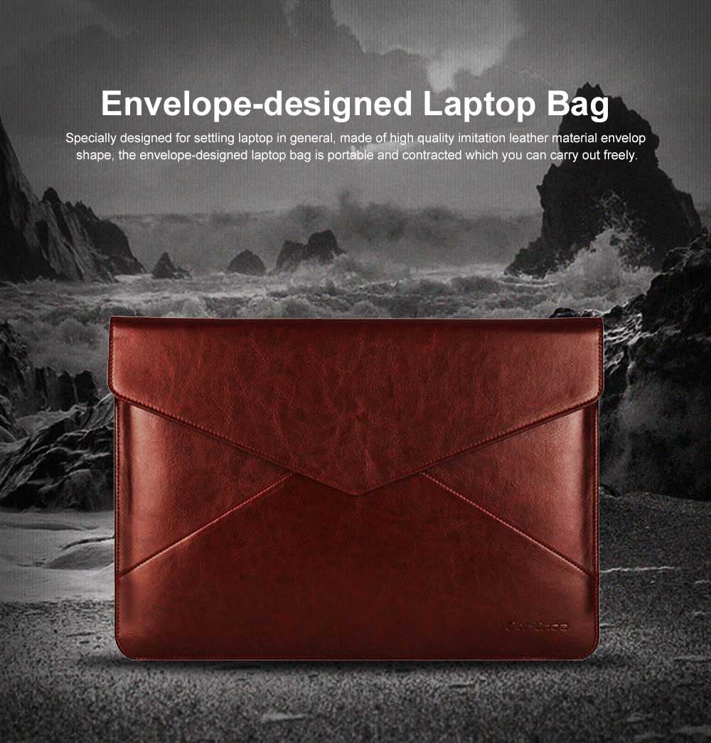 Stylish Lightweight Envelope-designed Leather Cover for Apple Macbook Pro Air, PU Leather Slim Laptop Bag 0