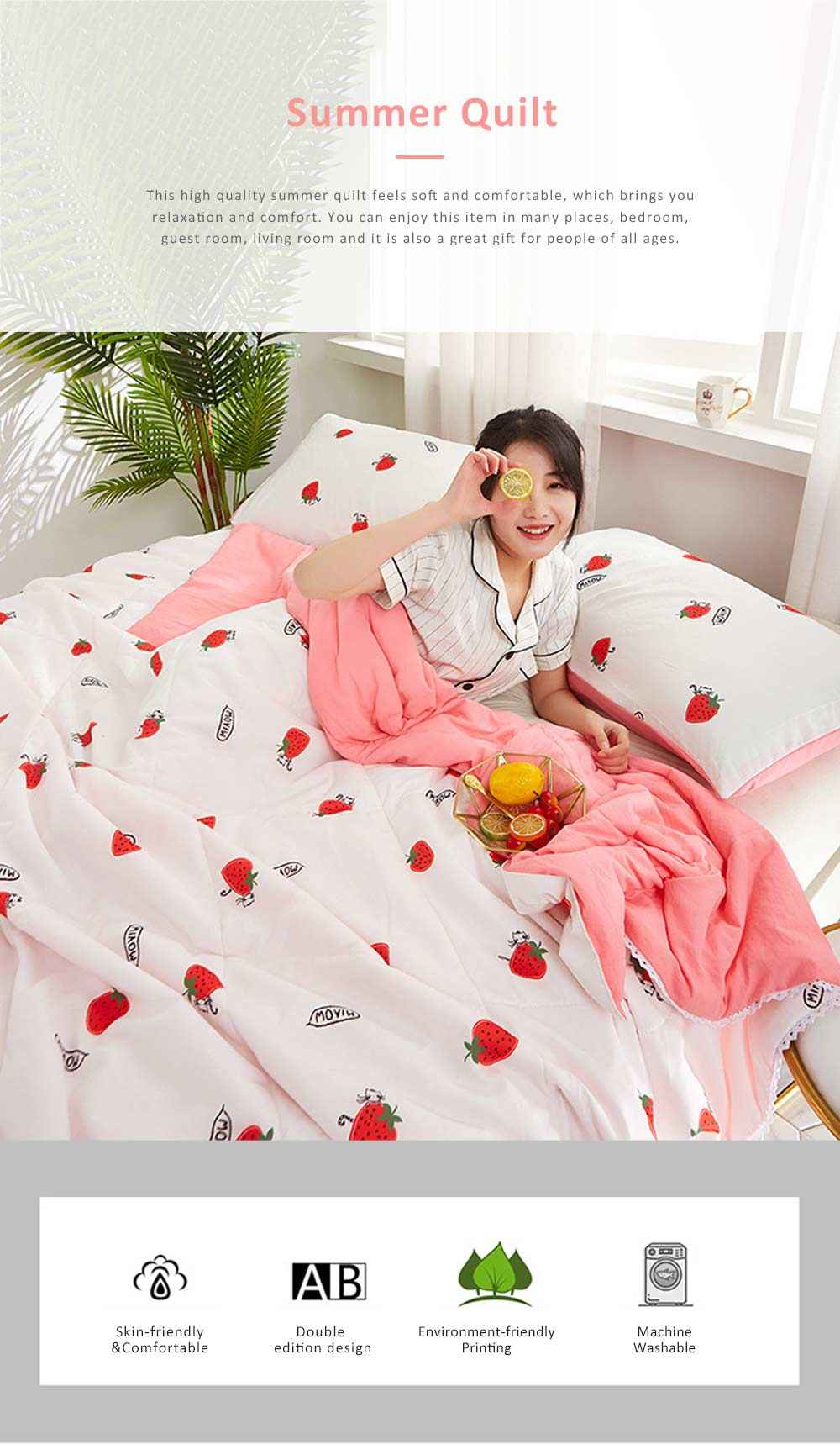Eco-friendly Printing Thin Quilt for Summer, Skin-friendly Polyester Material Cool Blanket 0