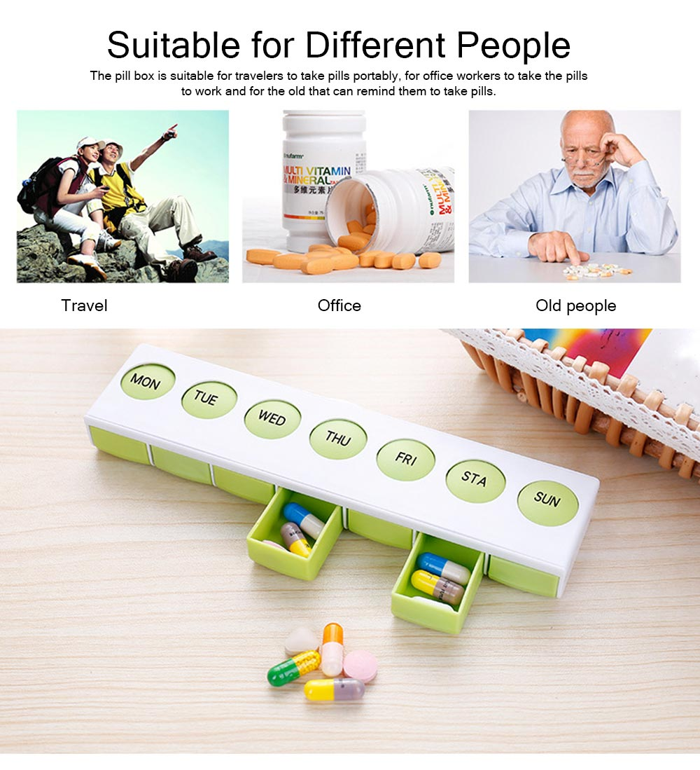 Mini Plastic Pill Box, Portable PP Material Pill Container with Spring for 7 Days, Small Storage Box with 7 Segmentations 1