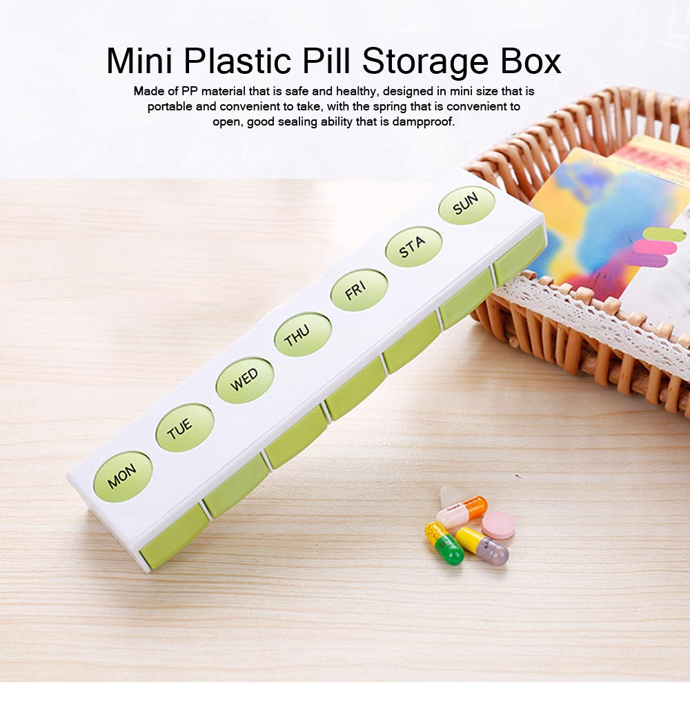 Mini Plastic Pill Box, Portable PP Material Pill Container with Spring for 7 Days, Small Storage Box with 7 Segmentations 0