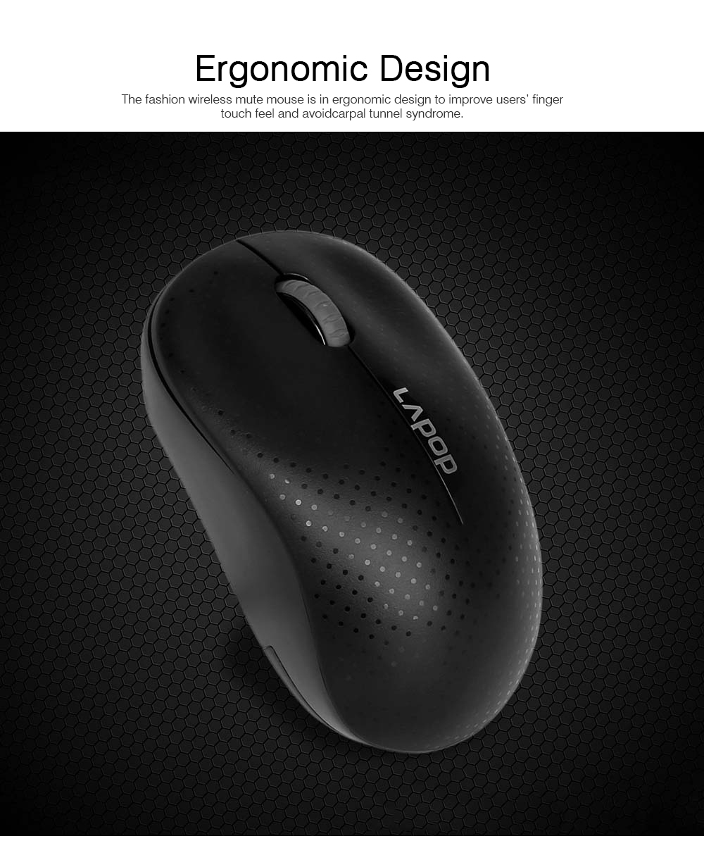 Wireless Mute Mouse for Office Use, Fashionable Wireless Mouse for Laptop, Wireless Game Mouse Black 4