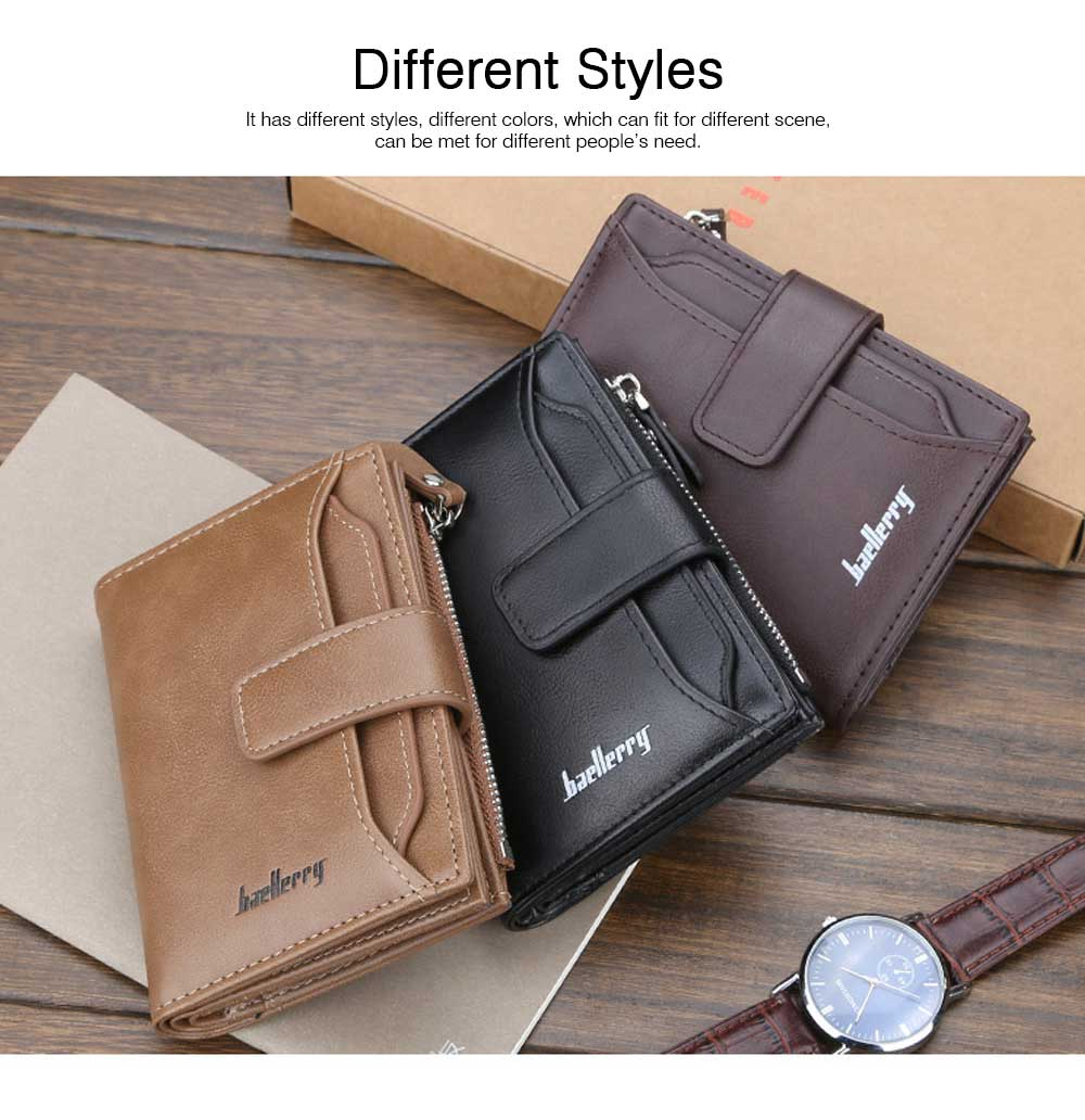 Trifold Business Leather Men's Wallet with Zipper, Multi-function Short Purse Slim Male Money Multi-card Positions Coin Leather Wallet for Men 1
