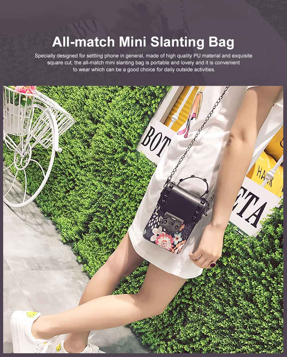 Personality Rivet Mobile Phone Shoulder Bag, All-match Mini Slanting Bag for Dating, Shopping, Daily Fahsion Mini Bag 0