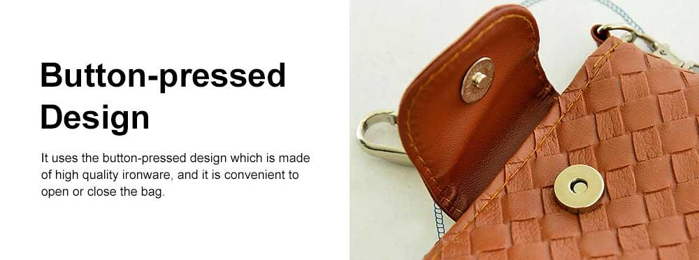 Mini Diagonal Mobile Phone Shoulder Bag, Woven PU Leather Small Slanting Bag for Phone, Cash, Card, Coins, Mini Casual Shoulder Bag 4