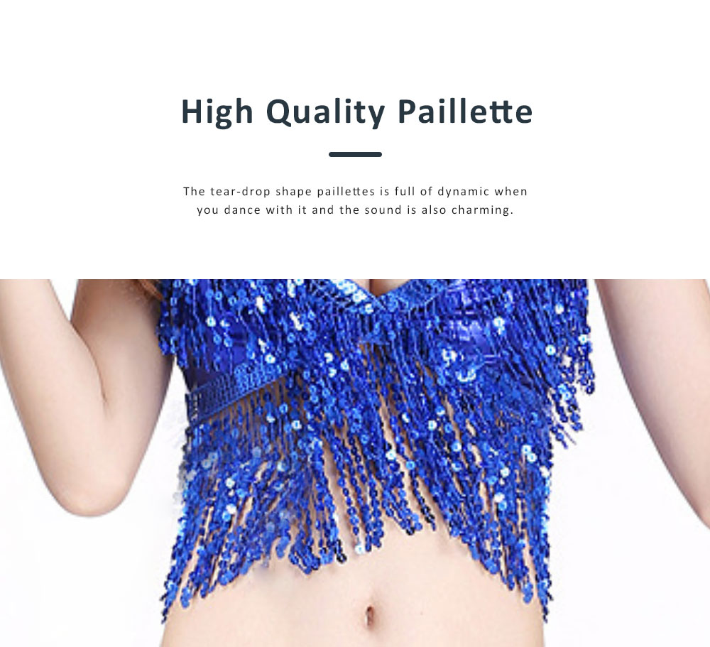 2019 Sexy Bar Performing Uniform Fringed Top with Paillette, Nine Colors Belly Dance Sexy V-neck Short Sling Pattern Camisole 5