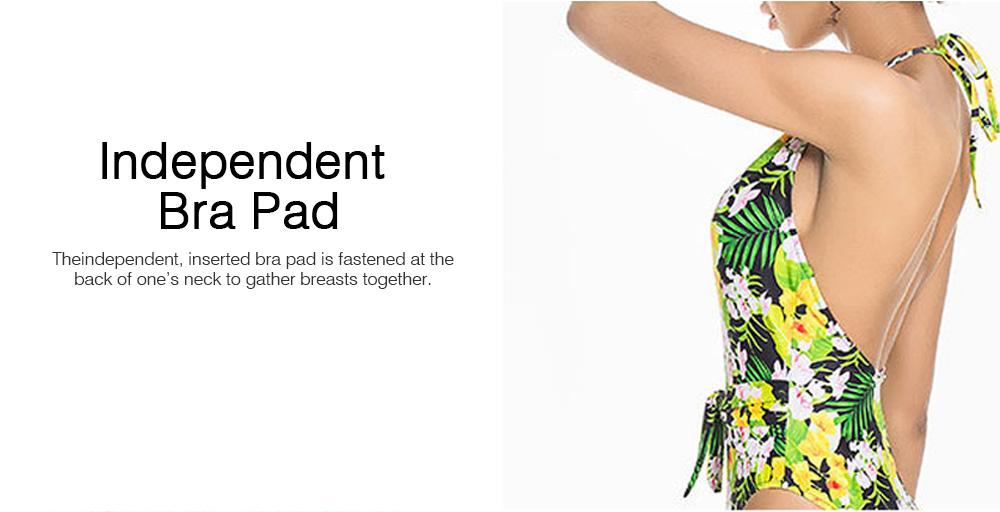 2019 Floral Pattern Bikini for Women, Western Style Separate Bikini Suits Large Size, Backless One-piece High Waist Swimwear Suits 5