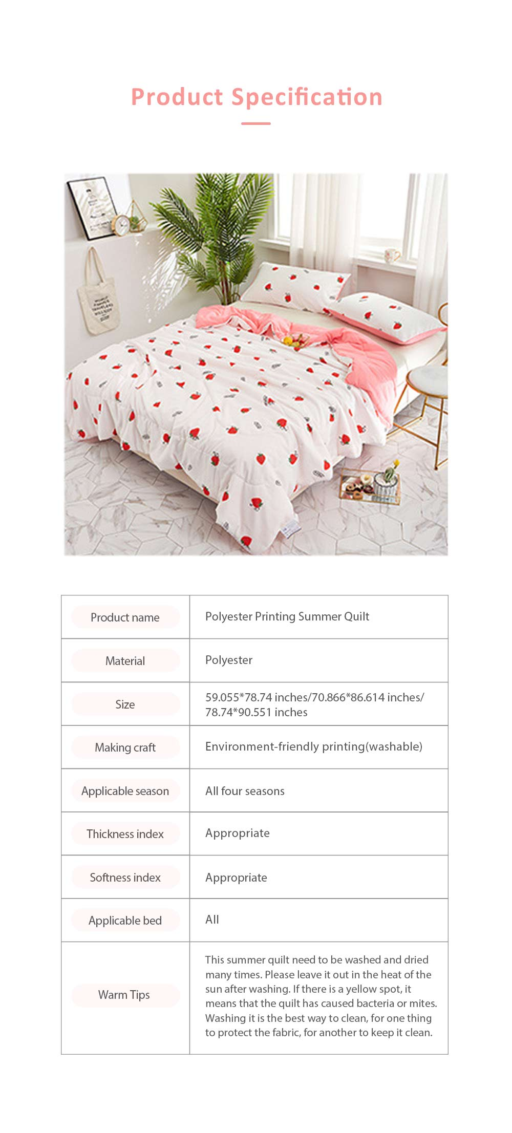 Eco-friendly Printing Thin Quilt for Summer, Skin-friendly Polyester Material Cool Blanket 7