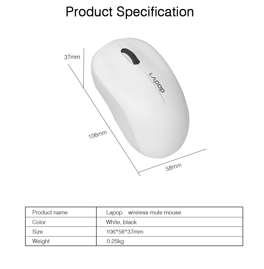 Wireless Mute Mouse for Office Use, Fashionable Wireless Mouse for Laptop, Wireless Game Mouse Black 6