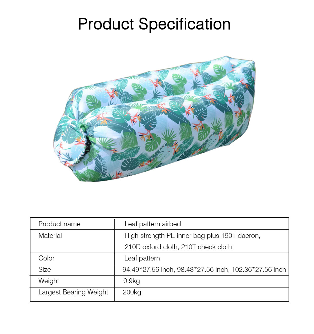 Leaf Pattern Printed Fast Inflatable Sofa Airbed for Outdoor Activity, Lazy Men Air Sofa Inflatable Couch Nap Airbed, Folded Portable Air Mattresses 6