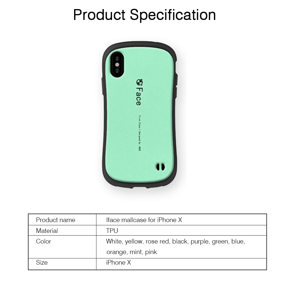 Original iface Mall Phone Case for iPhone X, Silicone Hard Strong Protective Phone Shell, Back Cover for iPhone X, iPhone 10 Slim Fit Shockproof 6