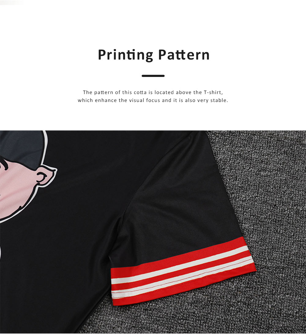 2019 New Sports Men's T-shirt, External Trade Fashionable Collarless Short Sleeve, Cartoon Printed Breathable Tees 5