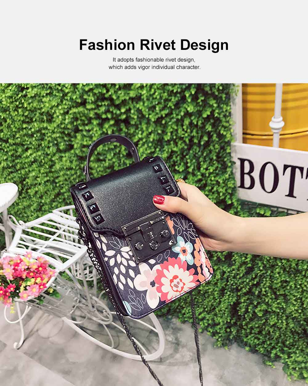 Personality Rivet Mobile Phone Shoulder Bag, All-match Mini Slanting Bag for Dating, Shopping, Daily Fahsion Mini Bag 2