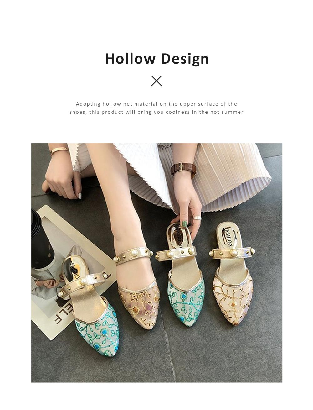 2019 Latest Style Elegant Sandals for Women, Rivet Pearl Decorating Hollow Casual Slippers 5