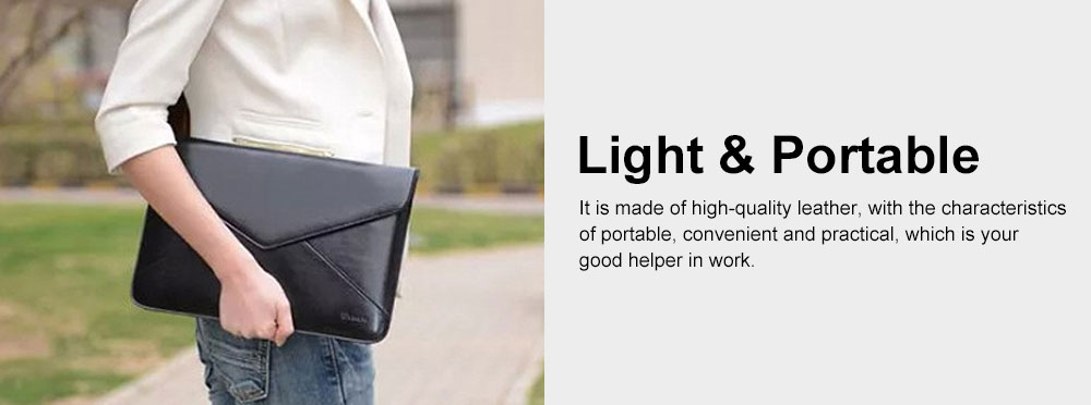 Stylish Lightweight Envelope-designed Leather Cover for Apple Macbook Pro Air, PU Leather Slim Laptop Bag 4