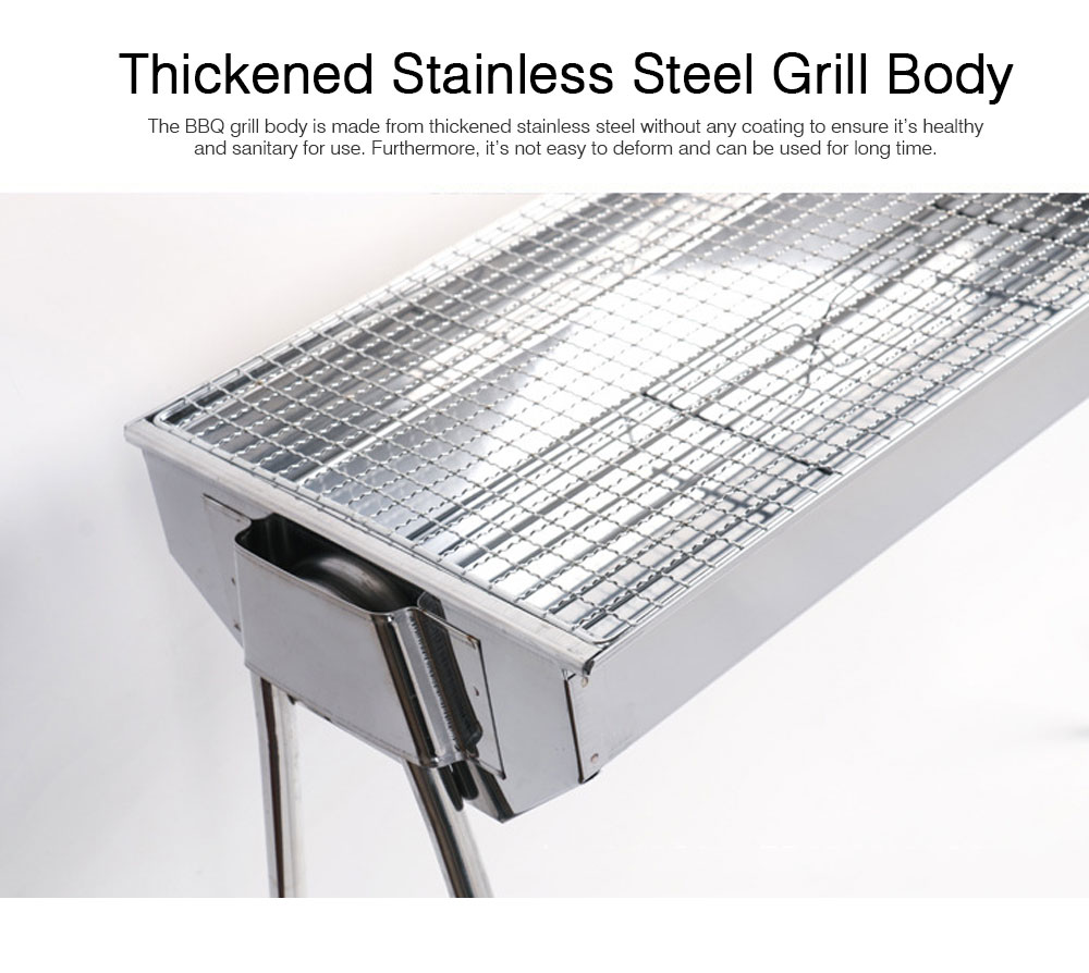 Portable Stainless Steel Barbecue Grill for Outdoor, Home BBQ Grill Set BBQ Grill, Charcoal Barbecue Grill Suit for 3 - 5 People 1