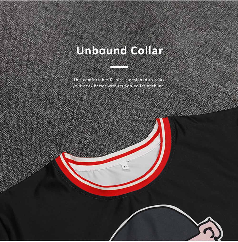 2019 New Sports Men's T-shirt, External Trade Fashionable Collarless Short Sleeve, Cartoon Printed Breathable Tees 2