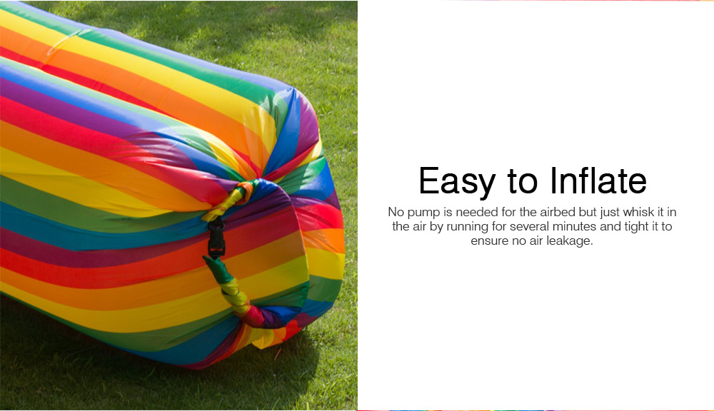Ultralight Rainbow Color Design Airbed for Outdoor Activity, Portable Sleep Bag Inflatable Sofa, Foldable Airbed Air Sofa 3