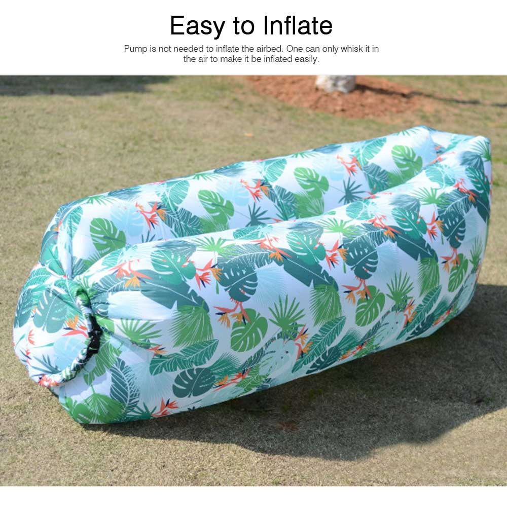 Leaf Pattern Printed Fast Inflatable Sofa Airbed for Outdoor Activity, Lazy Men Air Sofa Inflatable Couch Nap Airbed, Folded Portable Air Mattresses 2