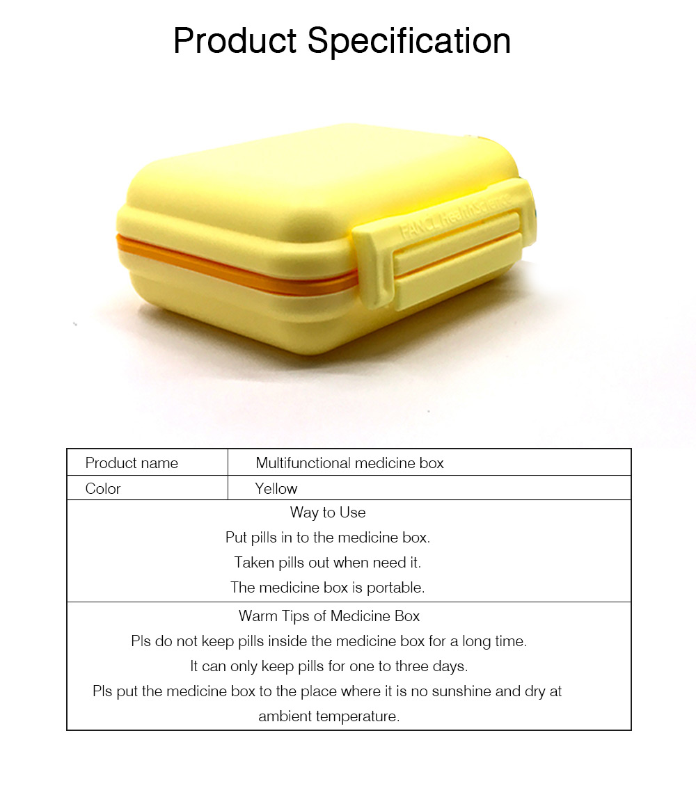 Weekly Pill Box with 6 Compartments, Waterproof Plastic Pill Organizer for Travel Use, Easy Carry Multifunctional Medicine Box 6