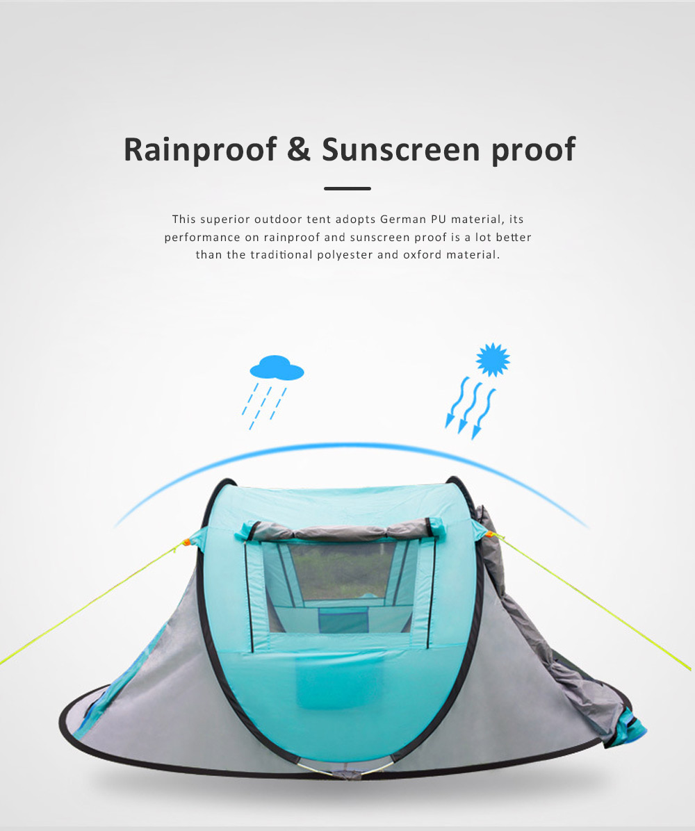 Full-automatic Quick Opening Tent with Two Doors Two Windows, Superior Sleeping Tent for Hiking Outdoor Activities, Two People Shelters 4
