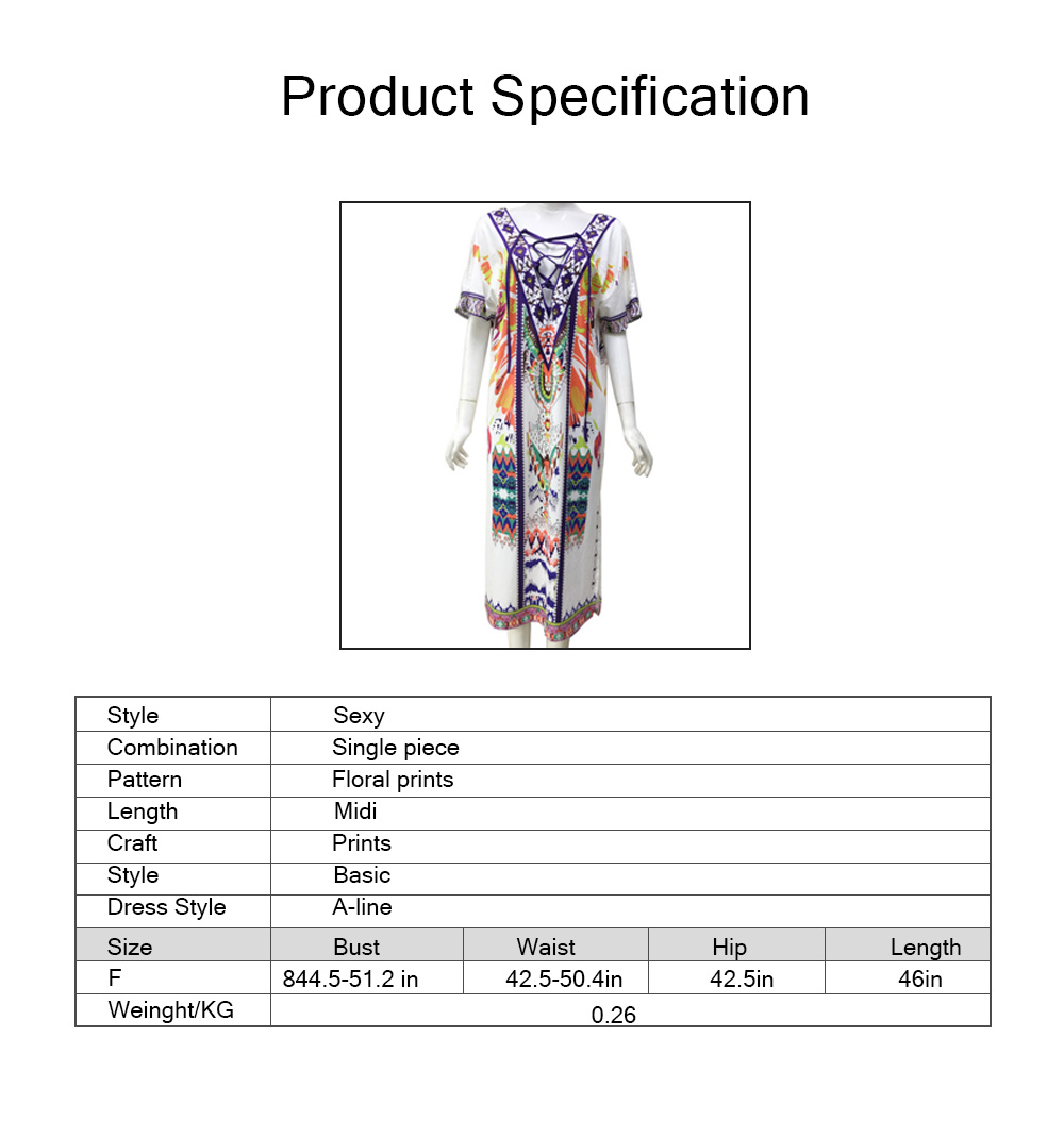 2019 Women One-piece Dress with Floral Prints, Fashionable Cozy Long Dress for Spring and Summer Large Size 5
