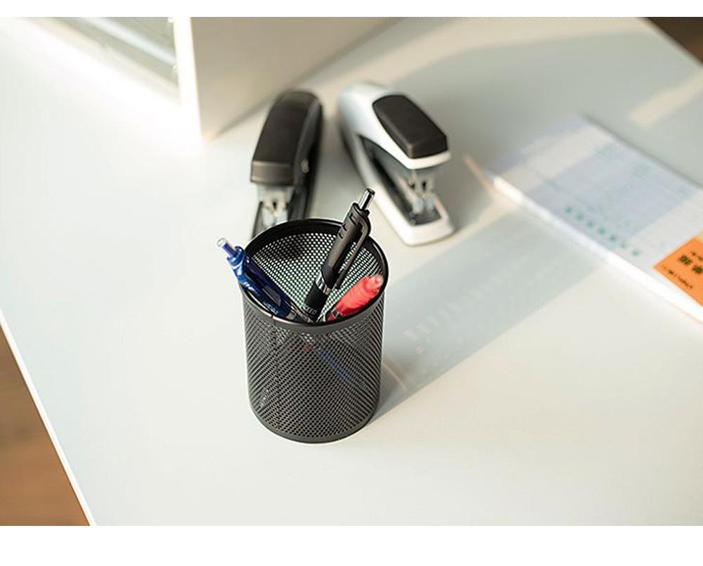 Creative Desk Desktop Table Pen Organizer, Black Round Dense Metal Wire Mesh Pencil Holder, Office School Supplies Pen Storage Box 6