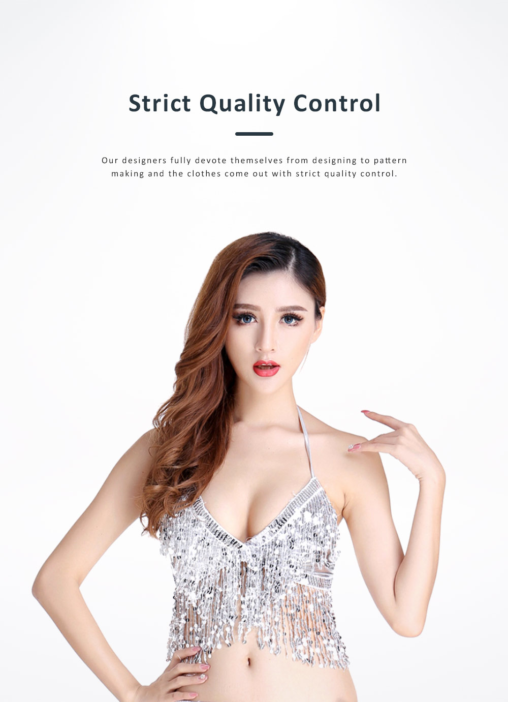 2019 Sexy Bar Performing Uniform Fringed Top with Paillette, Nine Colors Belly Dance Sexy V-neck Short Sling Pattern Camisole 4