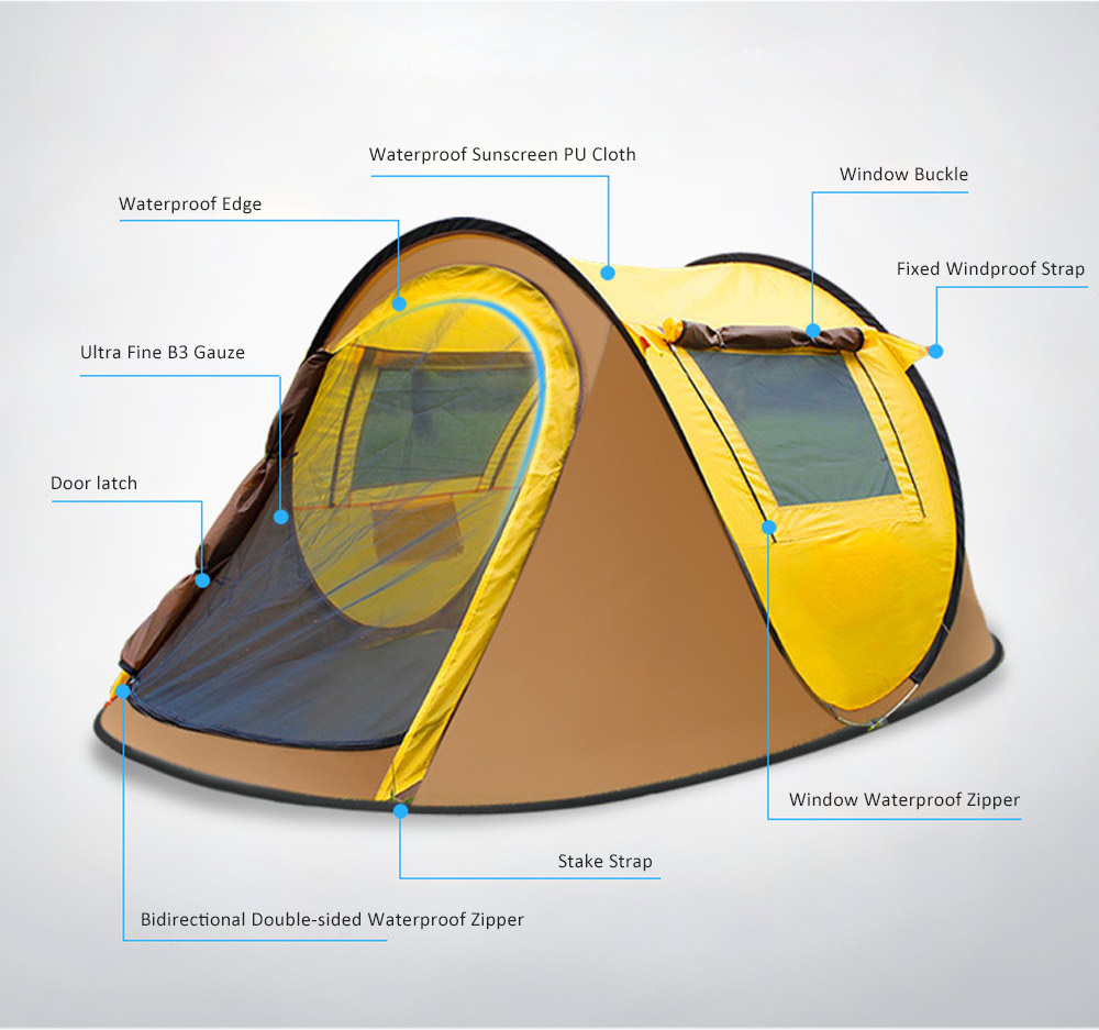 Full-automatic Quick Opening Tent with Two Doors Two Windows, Superior Sleeping Tent for Hiking Outdoor Activities, Two People Shelters 6